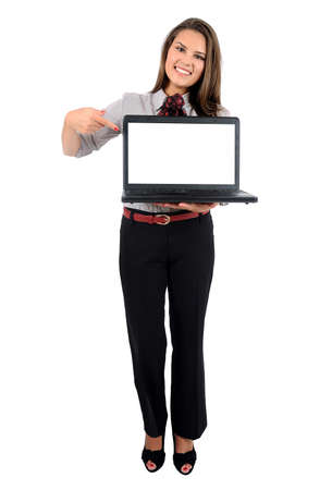 Isolated young business woman with laptop photo