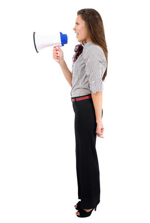 Isolated young business woman with megaphone Stock Photo - 16862762
