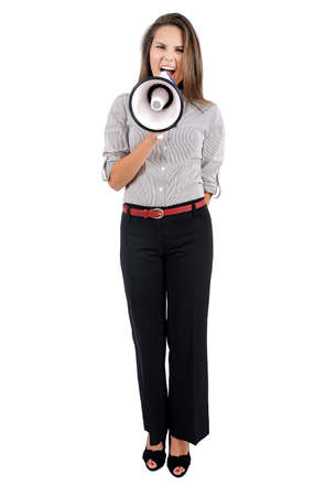 Isolated young business woman with megaphone Stock Photo - 16863184