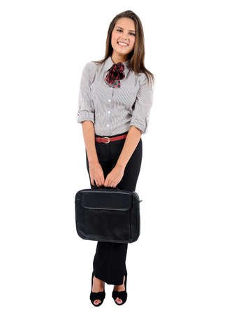 business backgound: Isolated young business woman with briefcase