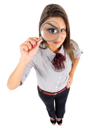 Aislados mujer de negocios de j?venes de aumento Foto de archivo - 16864551