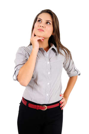 Isolated young business woman thinking Stock Photo - 16865515