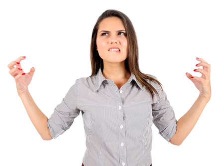 Isolated young business woman furious photo