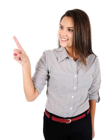 Mujer aislada negocio joven que apunta Foto de archivo - 16865849