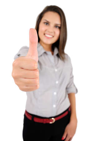 Isolated young business woman agreement Stock Photo - 16863334