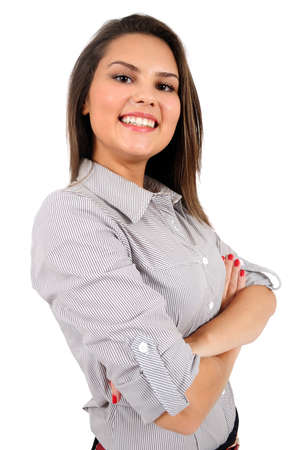 Isolated young business woman standing Stock Photo - 16865520