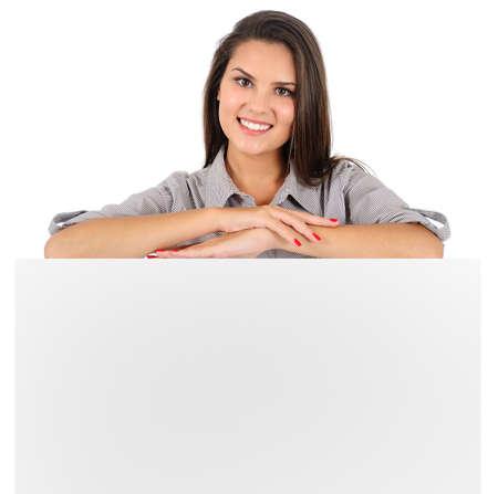 Isolé jeune femme d'affaires présentant Banque d'images