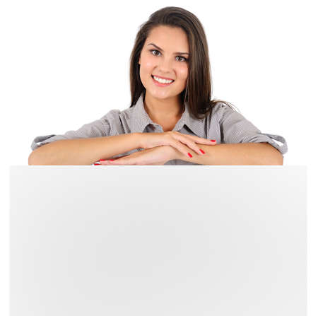 Isolated young business woman presenting Foto de archivo