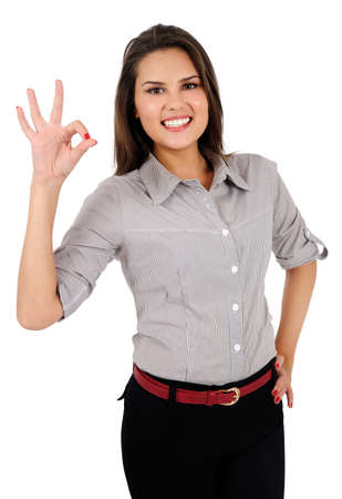 Isolated young business woman agreement Stock Photo - 16865540