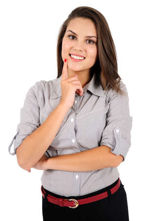 Isolated young business woman thinking Stock Photo - 16865802