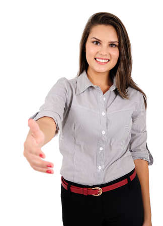 Isolated young business woman handshake Stock Photo - 16865621