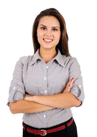 Isolated young business woman standing Stock Photo - 16865854