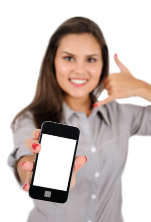 Isolated young business woman with phone photo