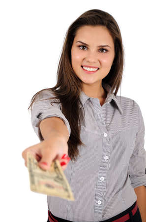 Isolated young business woman with money photo