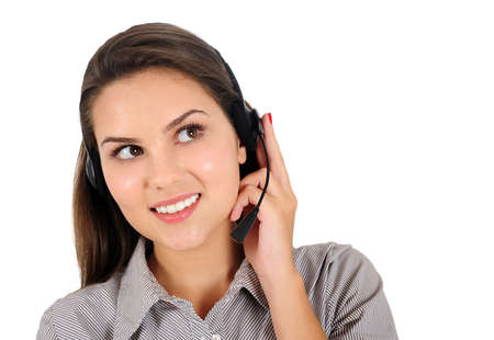 Isolated young business woman with headphone Stock Photo - 16864648