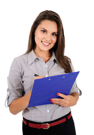 Isolated young business woman with notebook Stock Photo - 16865769