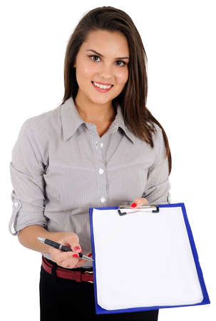 Isolated young business woman show clipboard photo