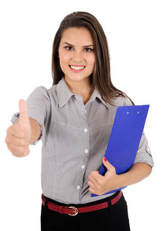 Isolated young business woman agreement Stock Photo - 16865872
