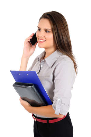 Isolated young business woman speaking phone Stock Photo - 16865598