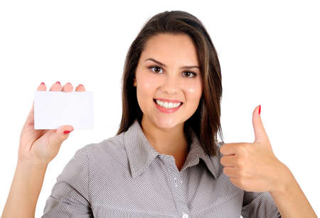 Isolated young business woman agreement Stock Photo - 16865774
