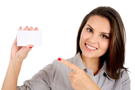 Isolated young business woman showing card photo