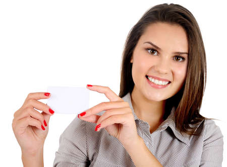 hand business card: Isolated young business woman showing card Stock Photo