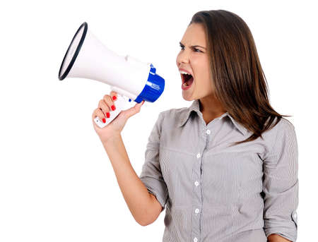Isolated young business woman with megaphone Stock Photo - 16865746