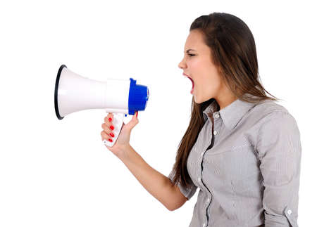 Isolated young business woman with megaphone Stock Photo - 16864706