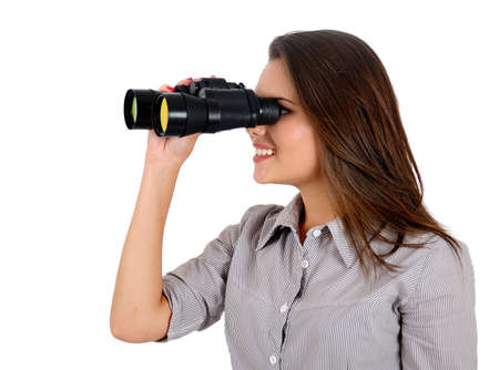 Isolated young business woman with binocular Stock Photo - 16865627