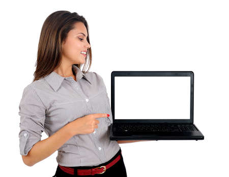 Isolated young business woman with laptop Foto de archivo