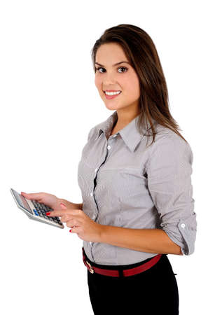 Isolated young business woman calculating photo