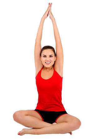 Isolated young fitness woman relaxation photo