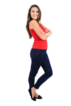 Isolated young casual girl standing Stock Photo - 16862537