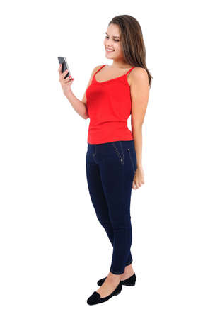 Isolated young casual girl with phone photo
