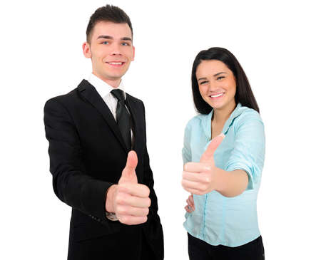 Isolated young business couple approve Stock Photo - 18353169