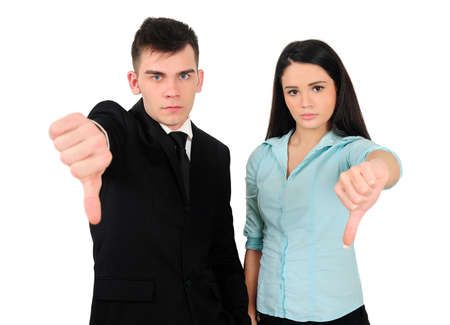 Isolated young business couple disagree Stock Photo - 18353186