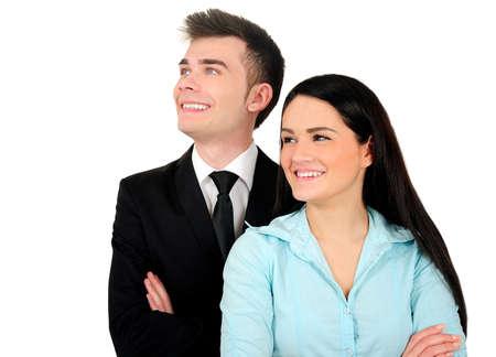 Isolé jeune couple debout entreprise Banque d'images