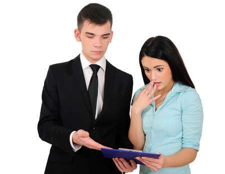 Isolated young business couple explain photo