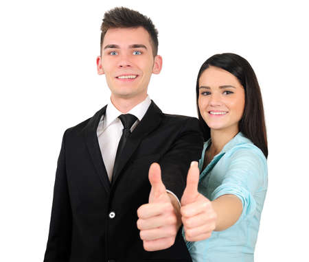 Isolated young business couple approve Stock Photo - 18353252
