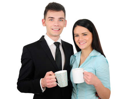 Isolated young business couple coffe break photo
