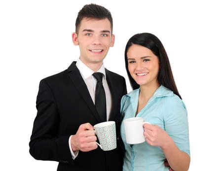 coffe break: Isolated young business couple coffe break