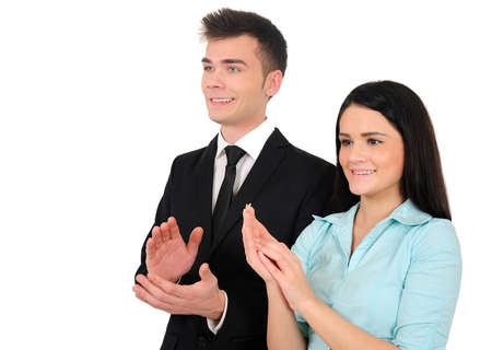 applaud: Isolated young business couple applaud