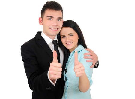 Isolated young business couple agreement Stock Photo - 18353148