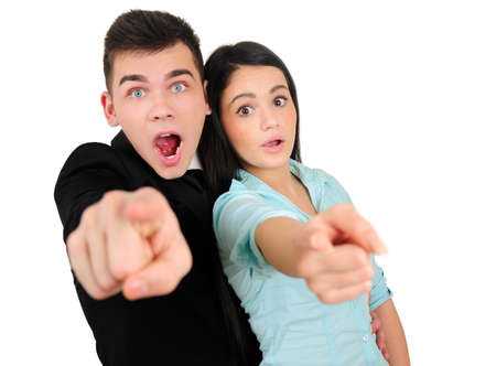 Isolated young business couple pointing photo