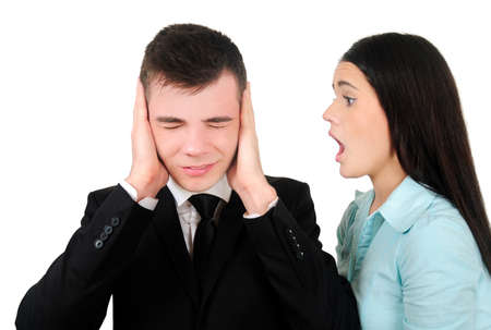 Isolated young business couple screaming photo