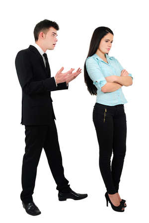 Isolated young business couple argue Stock Photo - 18353147
