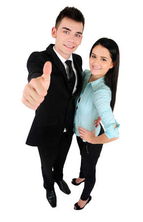 Isolated young business couple approve photo