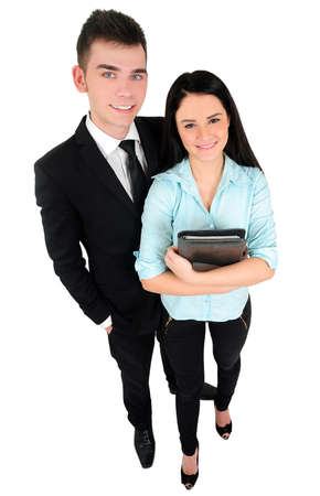 Isolated young business couple standing Stock Photo - 18353217