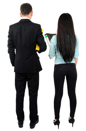 Isolated young business couple standing Stock Photo - 18353259
