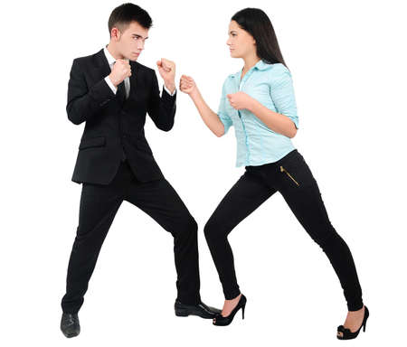 Isolated young business couple fight photo